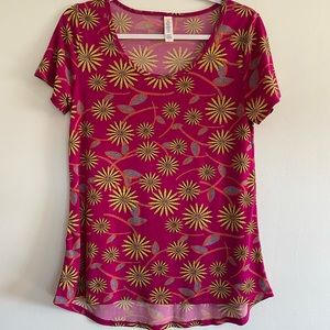 LuLaRoe Pink and Yellow Flowered Top